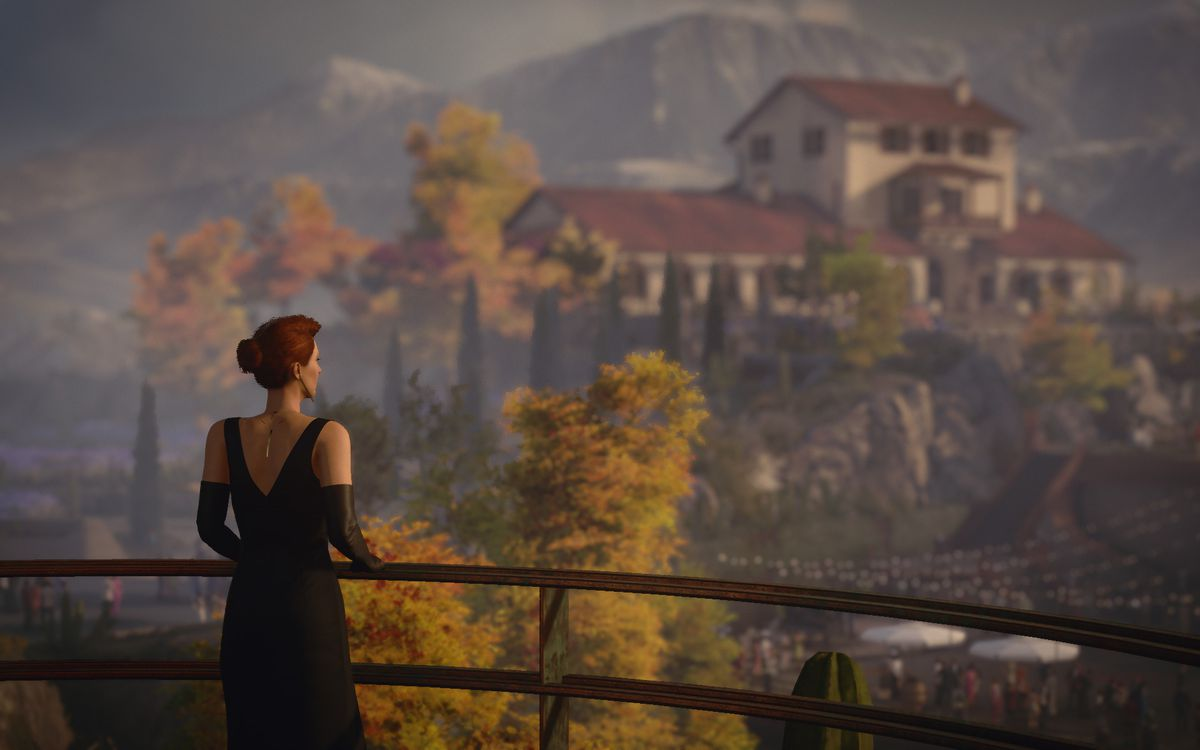 a shot from behind Diana Burnwood in an evening gown standing at a scenic overlook in Mendoza, Argentina, in Hitman 3