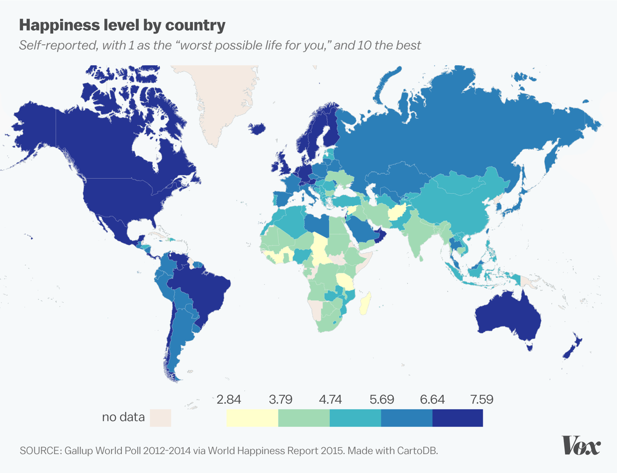 Money really does buy happiness in one map vox happiness by country happiness report freerunsca Choice Image