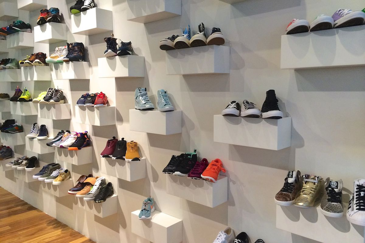 A sneaker wall display at The Tannery