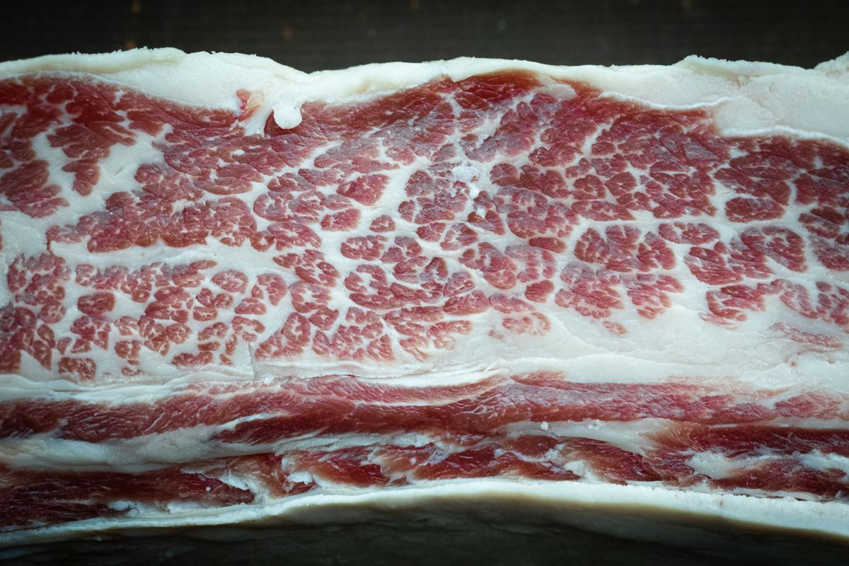 A close up of a raw beef short rib with intense marbling.