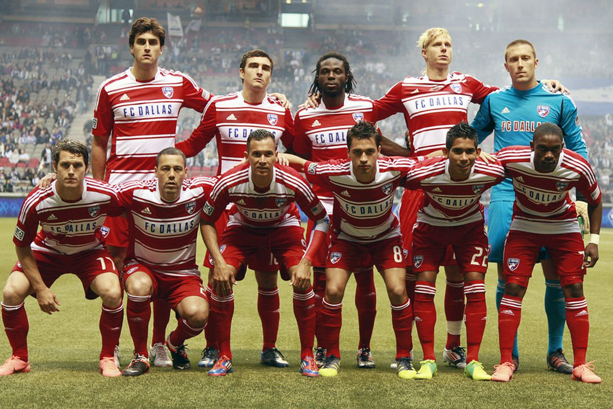 VANCOUVER, CANADA - APRIL 21:   The FC Dallas starting 11 against the Vancouver Whitecaps FC during their MLS game April 21, 2012 at BC Place in Vancouver, British Columbia, Canada. (Photo by Jeff Vinnick/Getty Images)