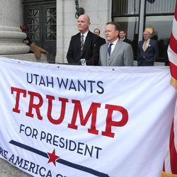 Utah State Sens. Ralph Okerland, R-Monroe,  and Stuart J. Adams, R- Layton, express their support for Donald Trump for president at a press conference at the state Capitol on Monday, Feb. 22, 2016.