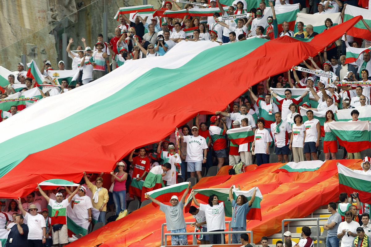 Bulgarian supporters holds a giant Bulga