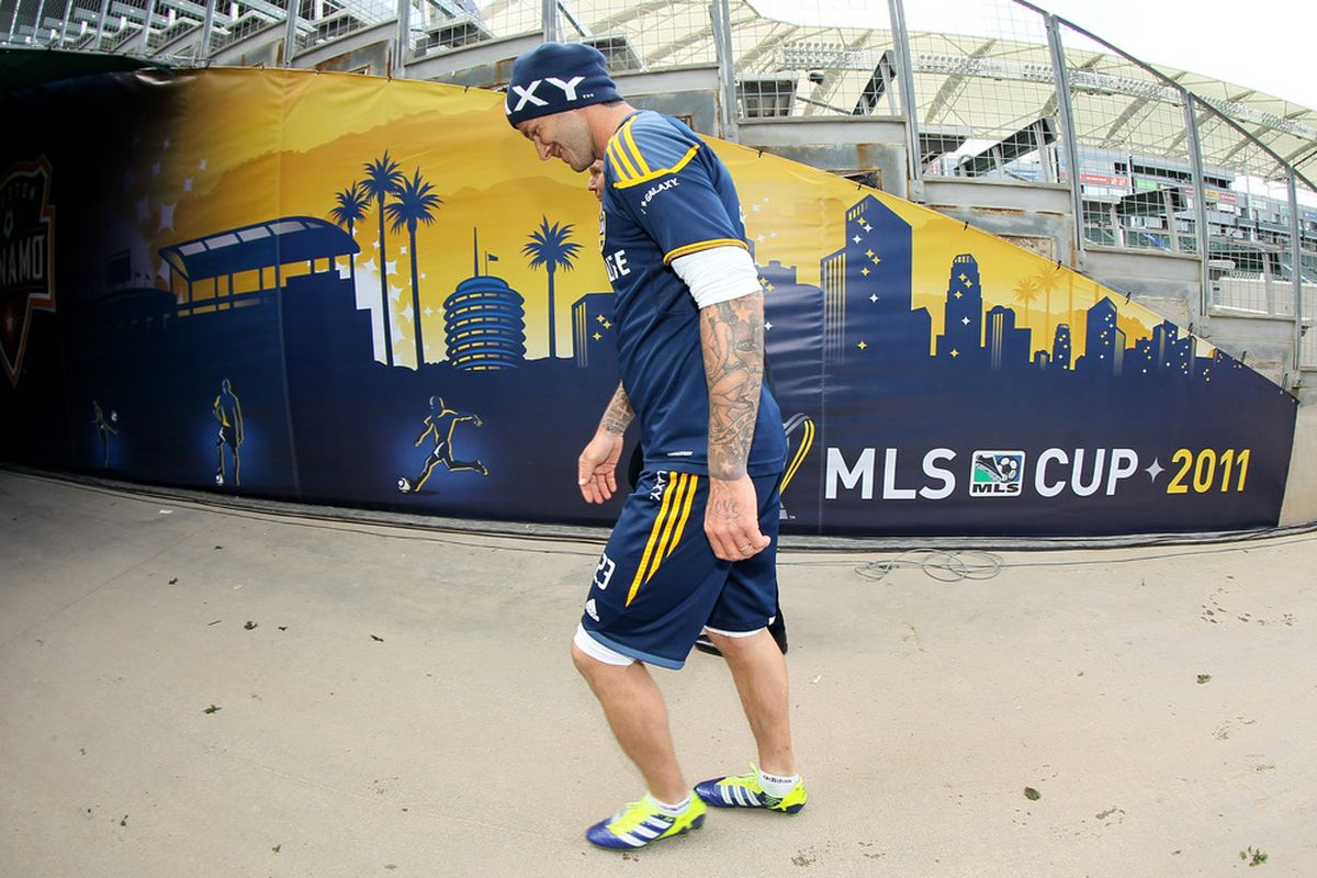 CARSON, CA - NOVEMBER 19:  David Beckham #23 of the LA Galaxy walks off the field following a training session ahead of the MLS Cup at The Home Depot Center on November 19, 2011 in Carson, California.  (Photo by Stephen Dunn/Getty Images)