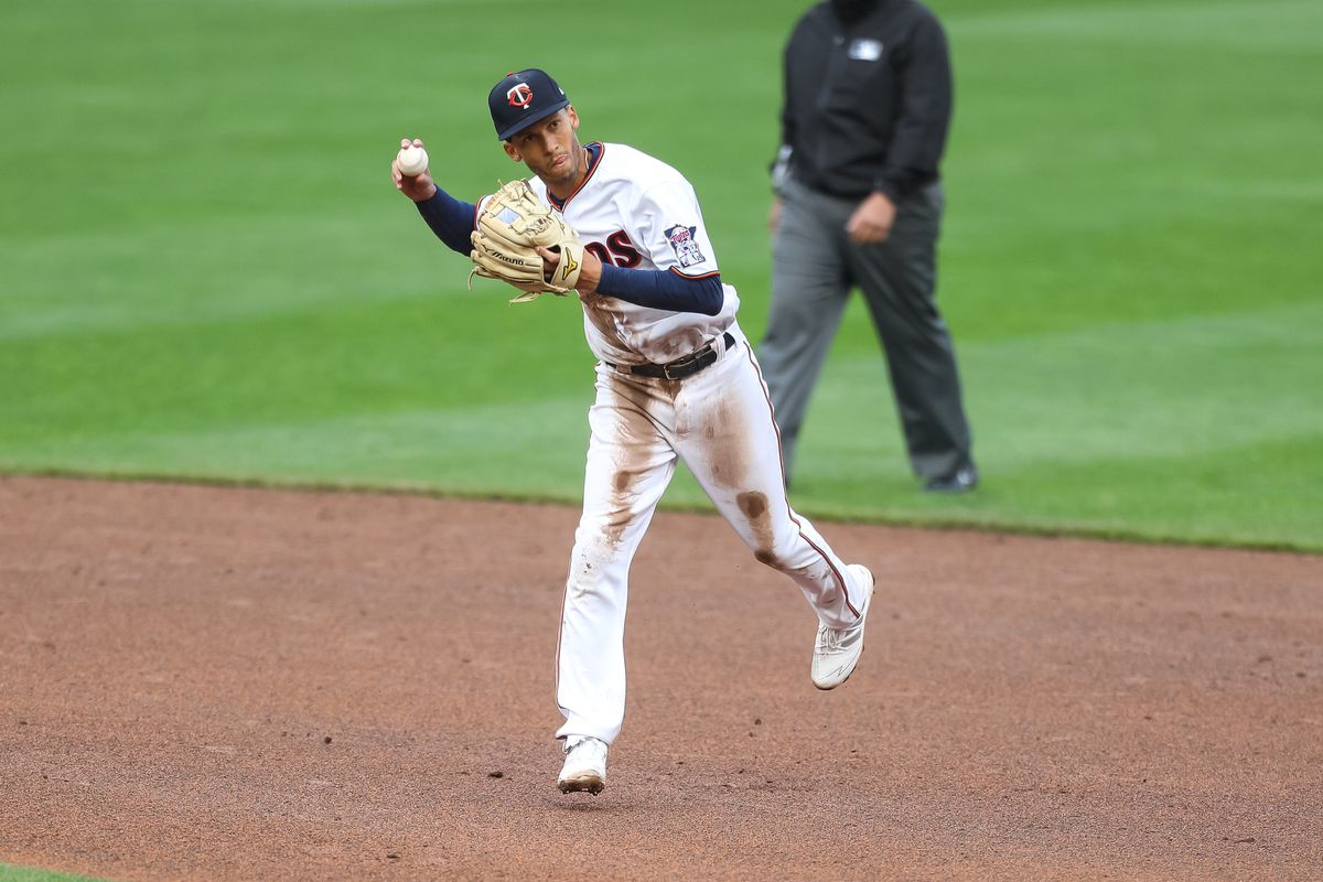 Minnesota Twins shortstop Andrelton Simmons throws the ball to first base for an out in the eighth inning against the Seattle Mariners at Target Field.
