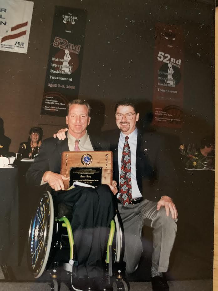Frank Burns (right) with David Kiley, whom Kiley credits with coaching the U.S. Men's Wheelchair Basketball Team to a gold medal at the 1988 Olympics in Seoul.