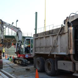 11:33 a.m. Another view of the utility excavation work being done on Waveland -