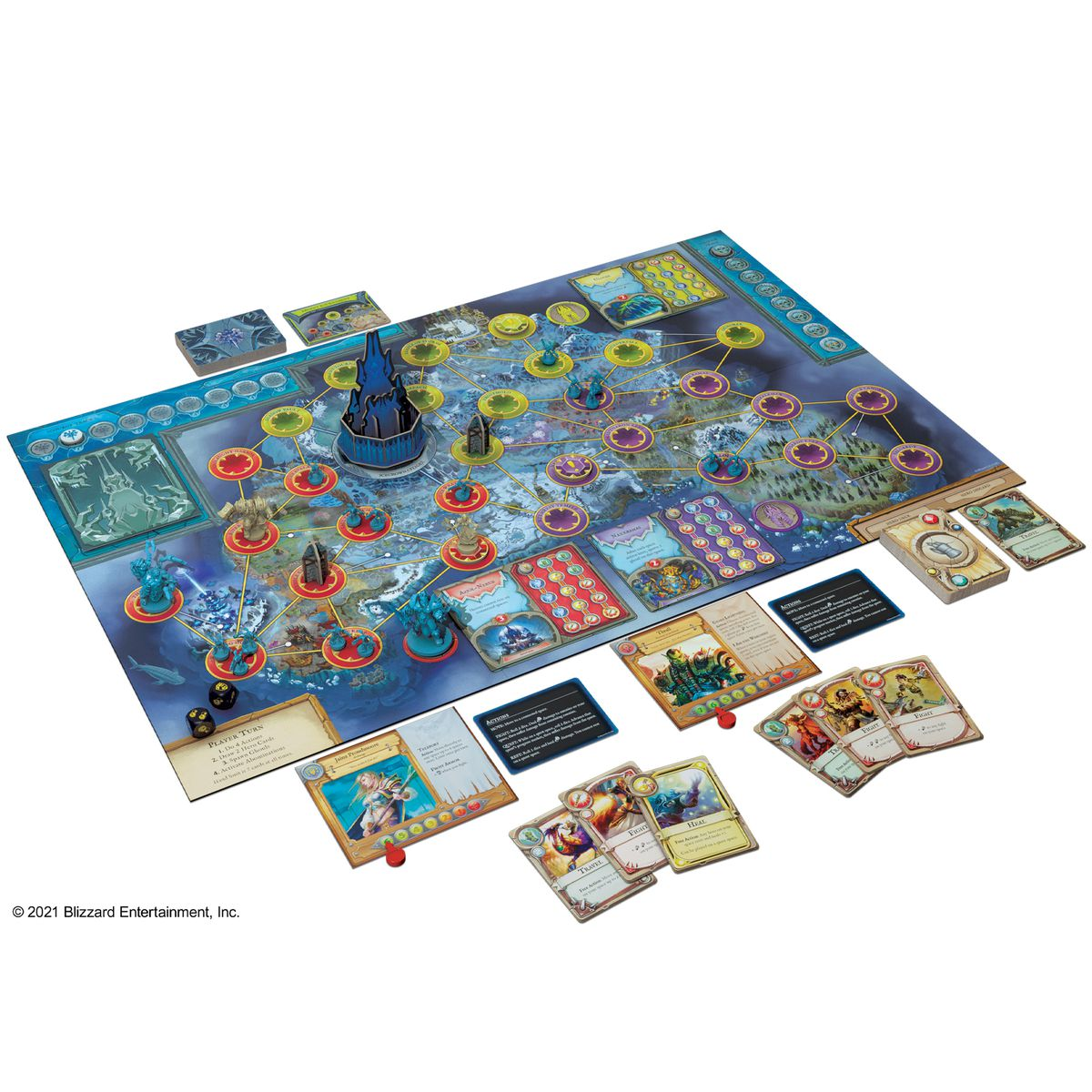 The complete Wrath of the Lich King version of Pandemic set up for play.