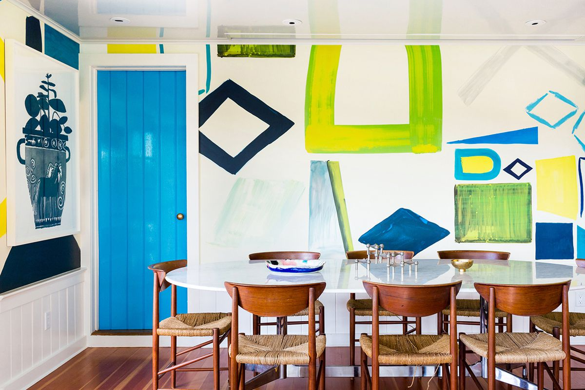 home with bright green on walls