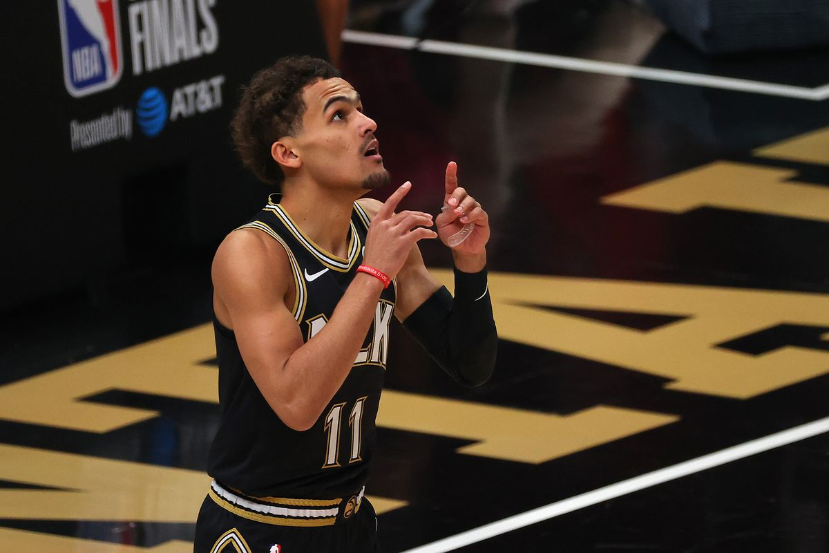 Trae Young of the Atlanta Hawks gets ready for the start of Game Six of the Eastern Conference Finals against the Milwaukee Bucks at State Farm Arena on July 03, 2021 in Atlanta, Georgia