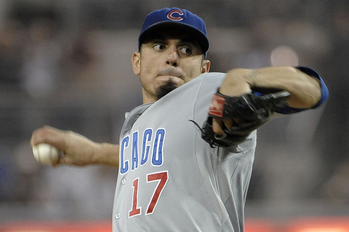 Matt Garza of the Chicago Cubs pitches during the first inning of a baseball game against the San Diego Padres at Petco Park in San Diego, California.  (Photo by Denis Poroy/Getty Images)