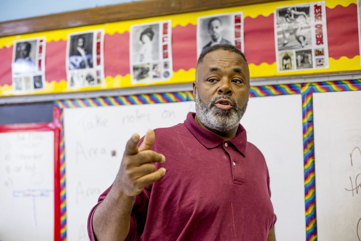 Reginald Tabron teaches an Afro-centric cultural class at Detroit's Paul Robeson Malcolm X Academy.