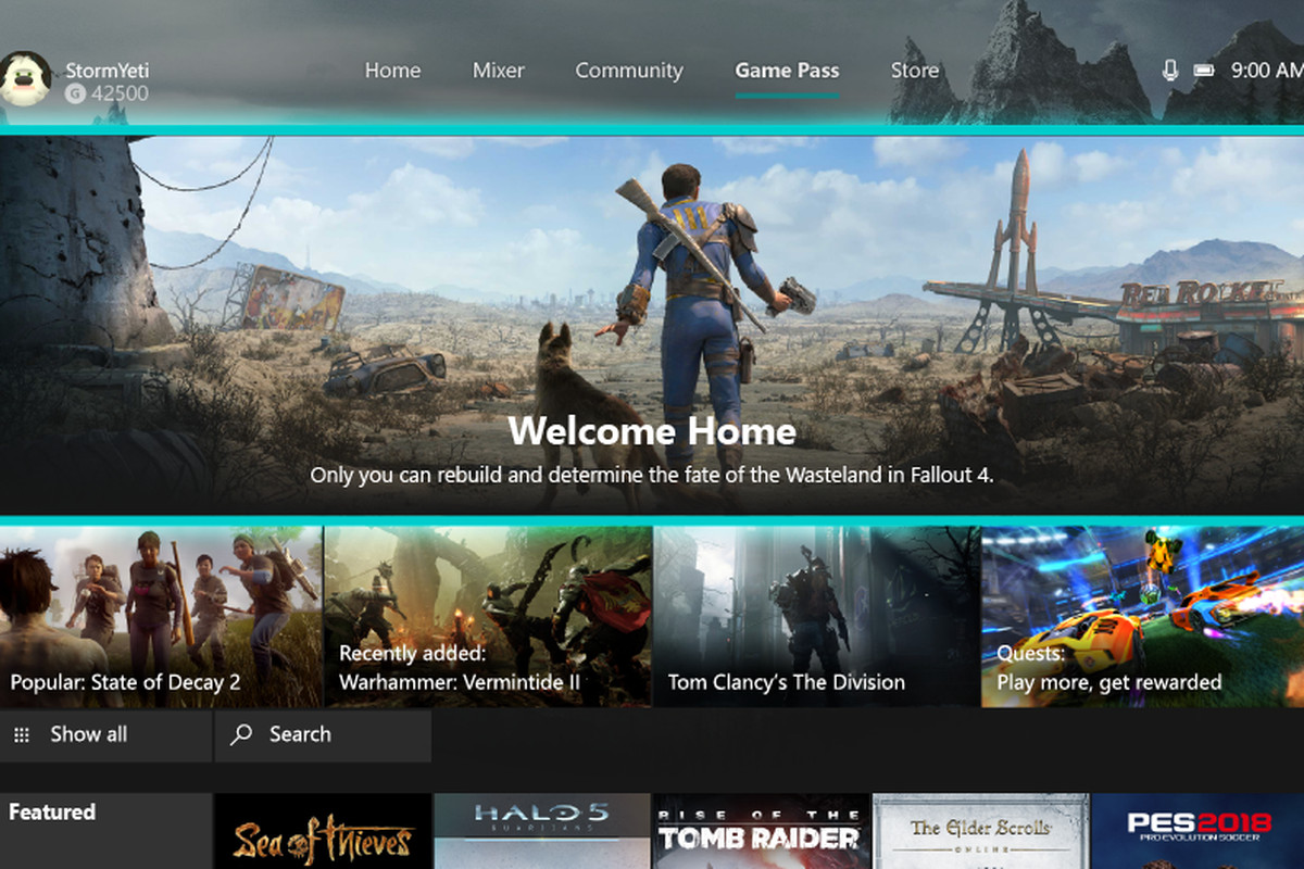 xbox game pass tab on xbox one dashboard