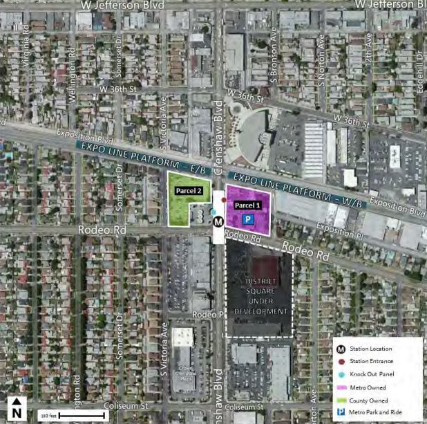 Two potential project sites near Expo/Crenshaw Station