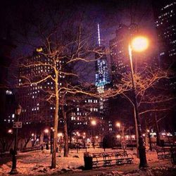 A cold night downtown. The spear glows to remind us of the meaning of freedom. #NewYorkMinute.