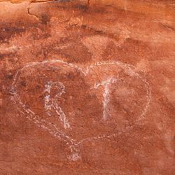Rock art that has recently been vandalized is pictured in the Butler Wash near Bluff in southern Utah on Saturday, July 16, 2016.