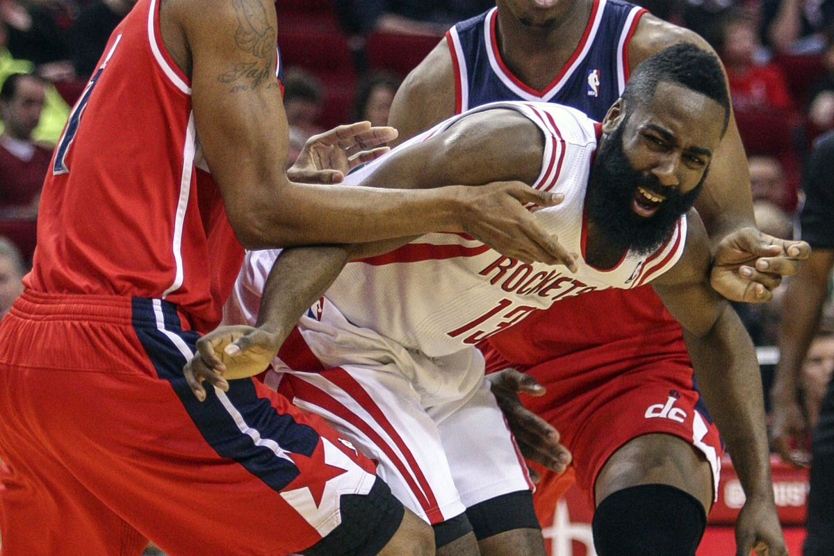 """This is James Harden getting mugged by the Wizards. Or, as it was deemed through most the game, """"Tough defense."""""""