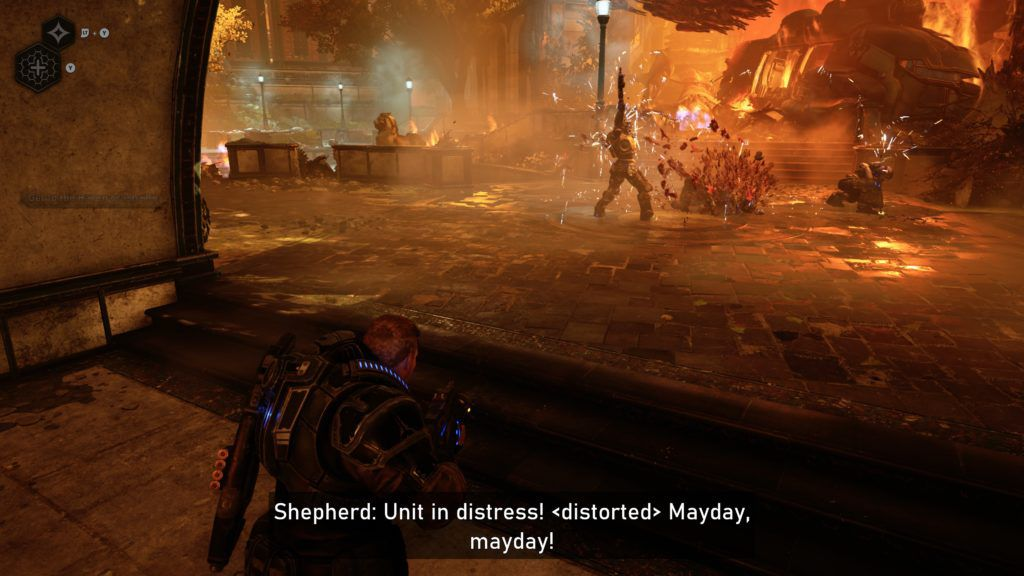 An image from Gears 5 showing how well the subtitles describe the action by explaining which voices are near the player, and which voices are coming from the in-game radio.