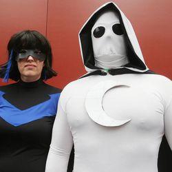 Karen Seifert and Darren Lamb wear costumes at Comic Con in Salt Lake City Thursday, Sept. 5, 2013.