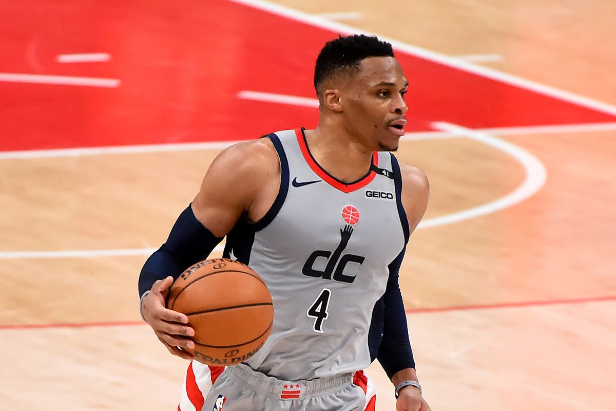 Russell Westbrook of the Washington Wizards dribbles against the Minnesota Timberwolves during the second half at Capital One Arena on February 27, 2021 in Washington, DC.