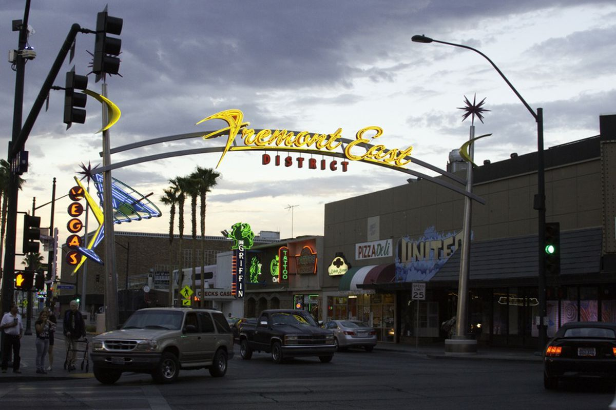Fremont East. Tony Hsieh's new project is on the right.