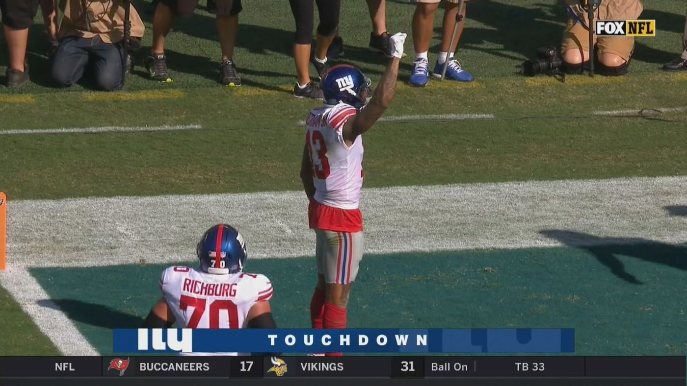 more photos 0976c fefc8 Odell Beckham Jr. pretends to be a dog peeing to celebrate ...