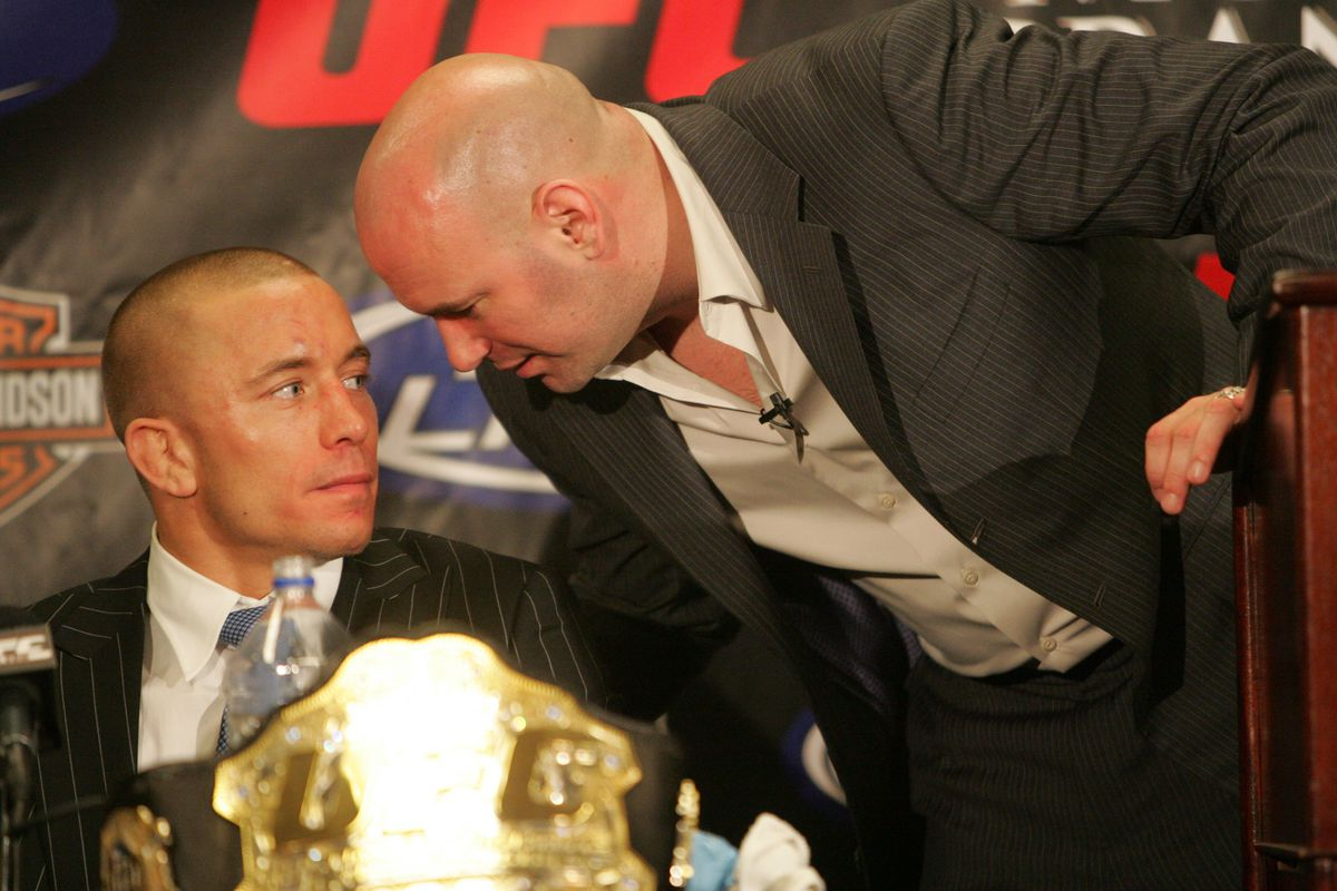 Georges St-Pierre and UFC president Dana White at the UFC 94 post-fight presser.