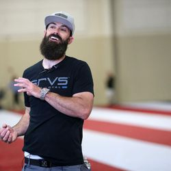 Follow the Flag organizer Kyle Fox talks about the giant American flag his organization commissioned at the South Towne Expo Center in Sandy on Wednesday, May 31, 2017. The flag, which measures 78 feet by 125 feet, will fly between the two peaks at Grove Canyon in Pleasant Grove on the morning of July 4th. Follow the Flag believes it will be the largest American flag ever flown.