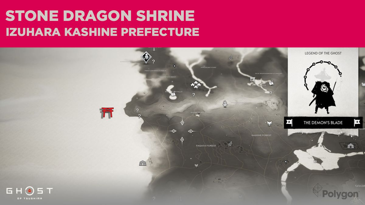 The location of Stone Dragon Shrine in Ghost of Tsushima