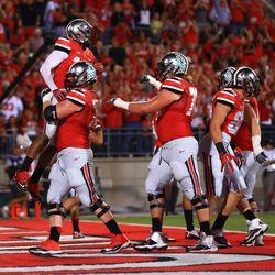 The Ohio State offense celebrates.