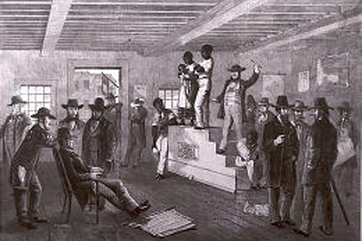 A slave auction in Virginia is depicted in this illustration dated 1861.