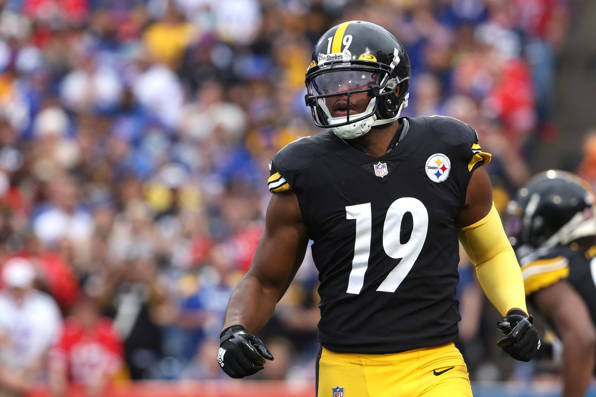 JuJu Smith-Schuster #19 of the Pittsburgh Steelers during a game against the Buffalo Bills at Highmark Stadium on September 12, 2021 in Orchard Park, New York.