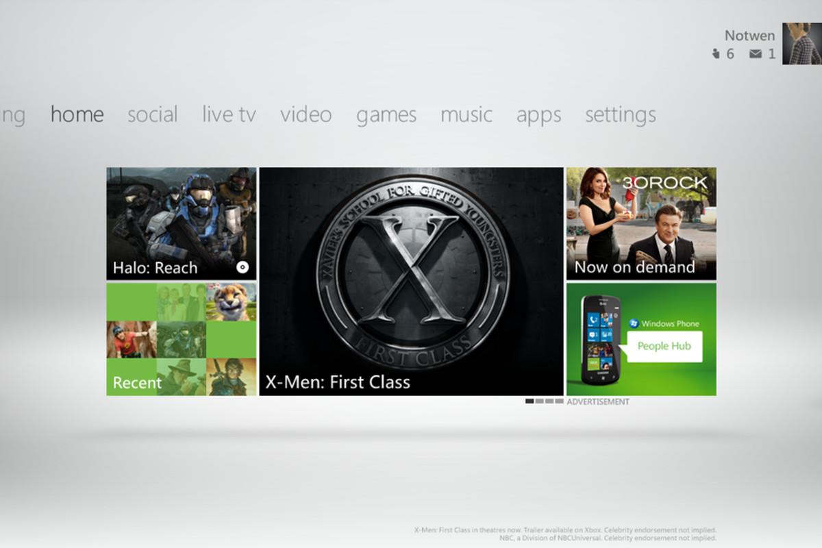 Xbox Live Fall 2011 Dashboard home