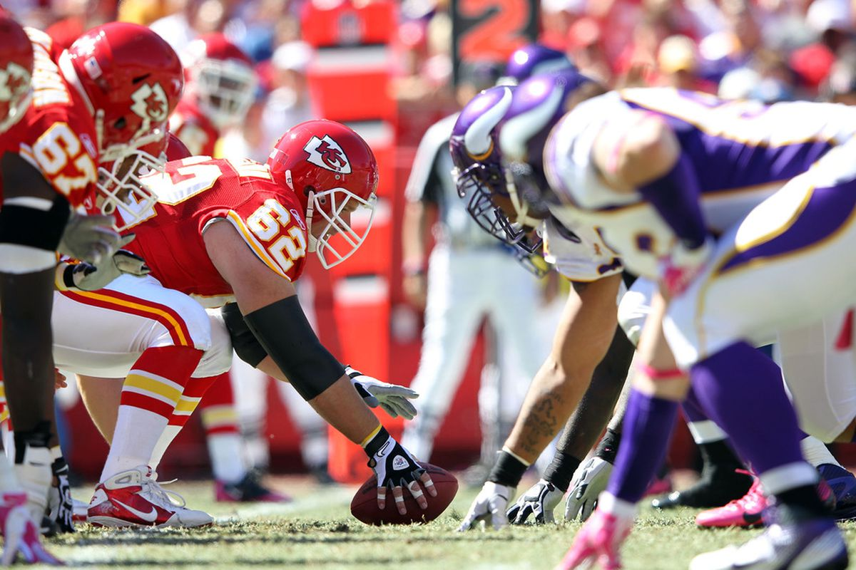KANSAS CITY, MO - OCTOBER 02:   Center Casey Wiegmann #62 and the Kansas City Chiefs line up against the Minnesota Vikings during the game on October 2, 2011 at Arrowhead Stadium in Kansas City, Missouri.  (Photo by Jamie Squire/Getty Images)