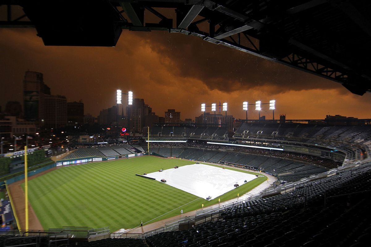 DETROIT - JULY 02:  The game between the San Francisco Giants and the Detroit Tigers is under a rain delay in the third inning at Comerica Park on July 2, 2011 in Detroit, Michigan.  (Photo by Leon Halip/Getty Images)
