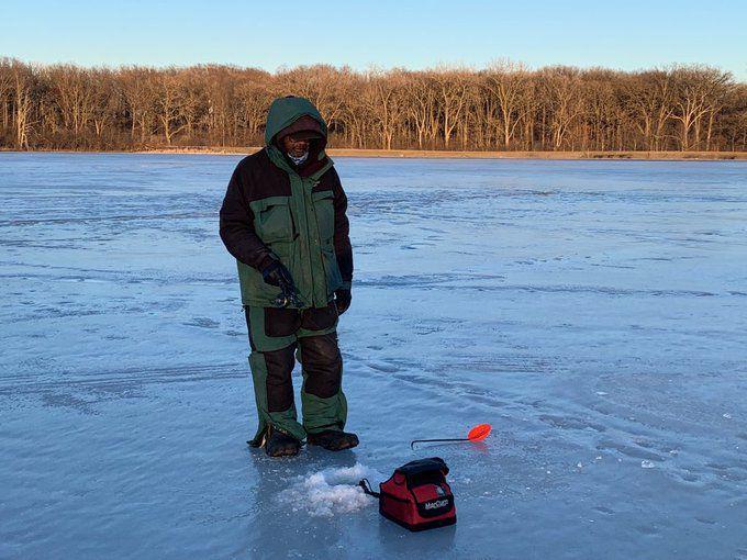 Larry Green sent his last ice fishing of the season. Credit: Andy Hansen