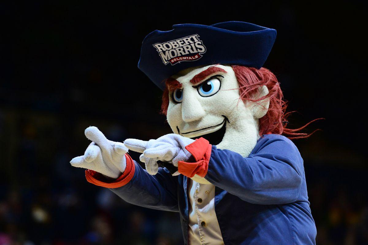 It kind of looks like the RMU mascot is a hypnotist.