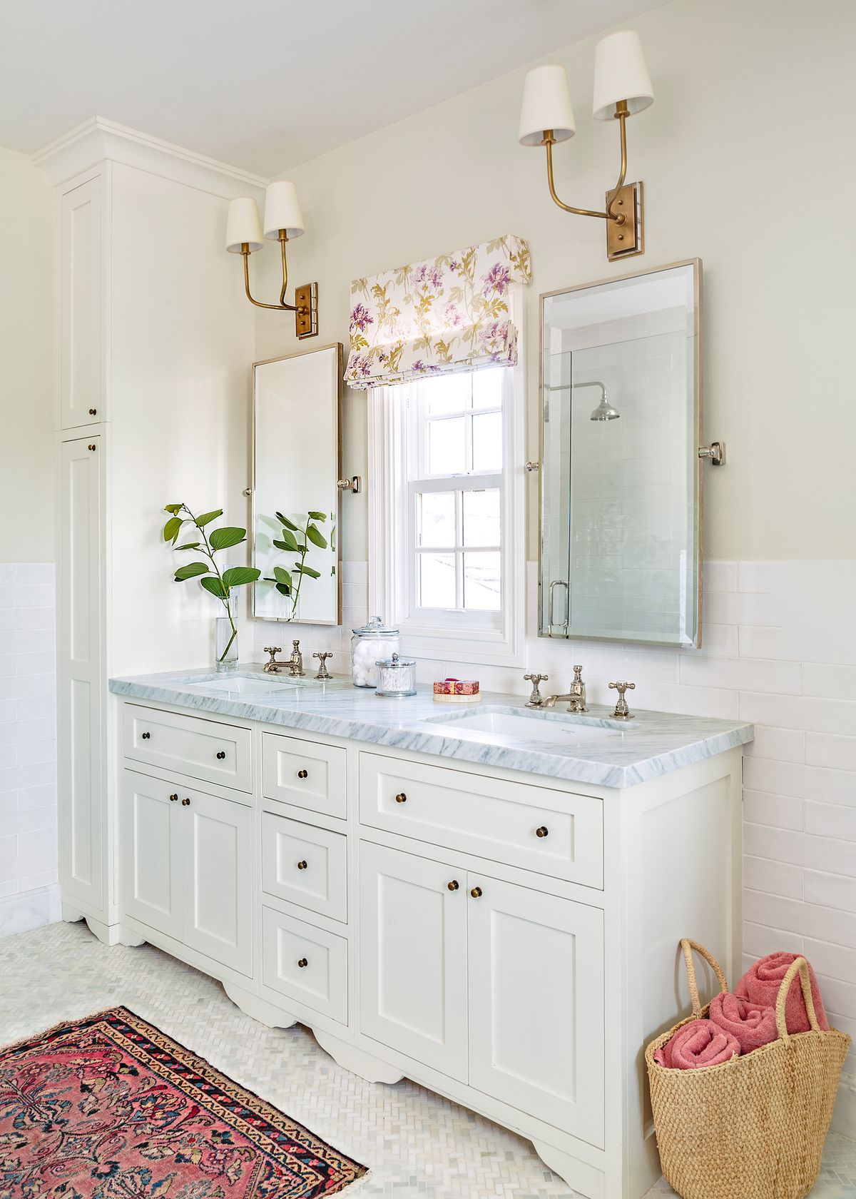 Cape Cod-style house remodel in Los Angeles, CA, master bath vanity