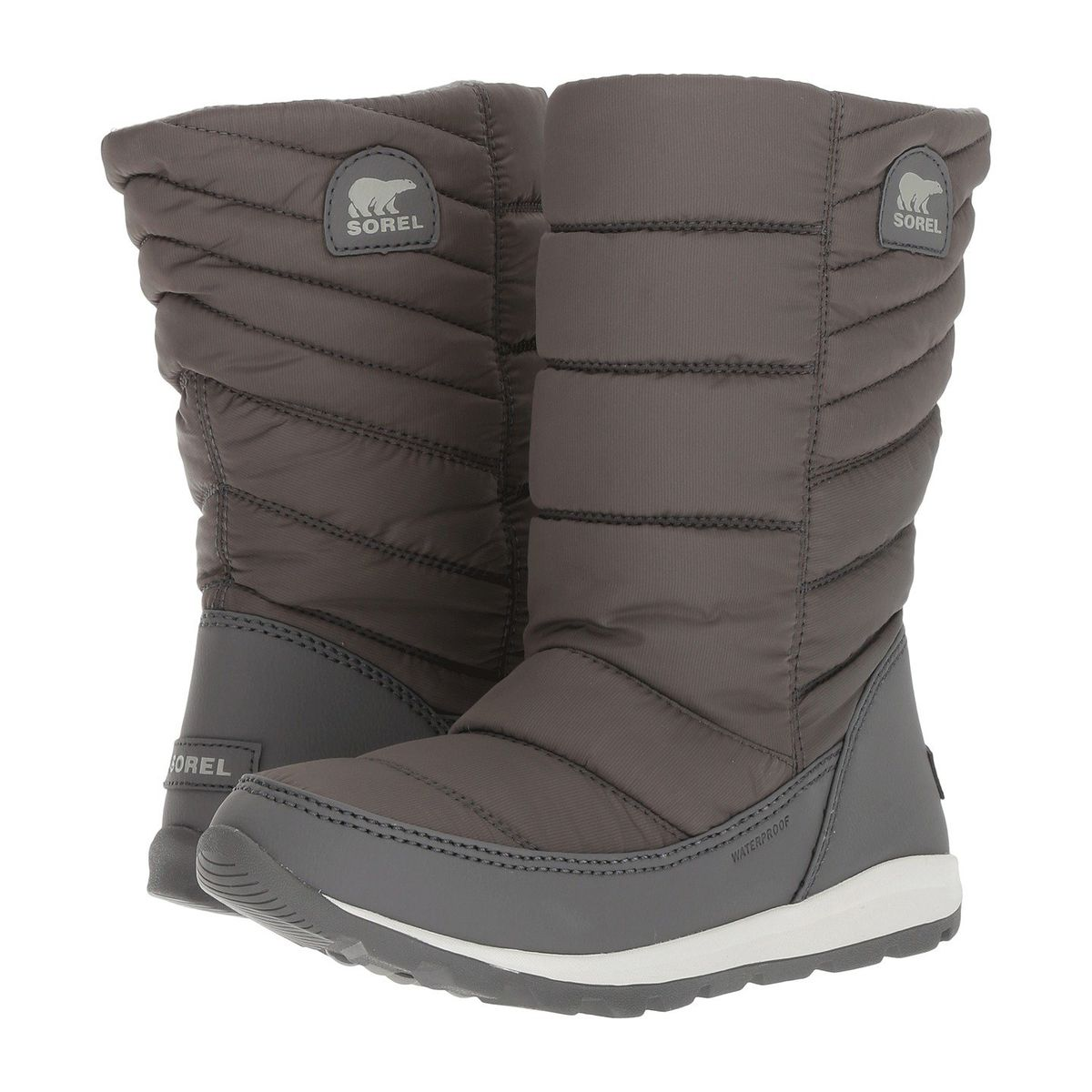 Grey puffy winter boots