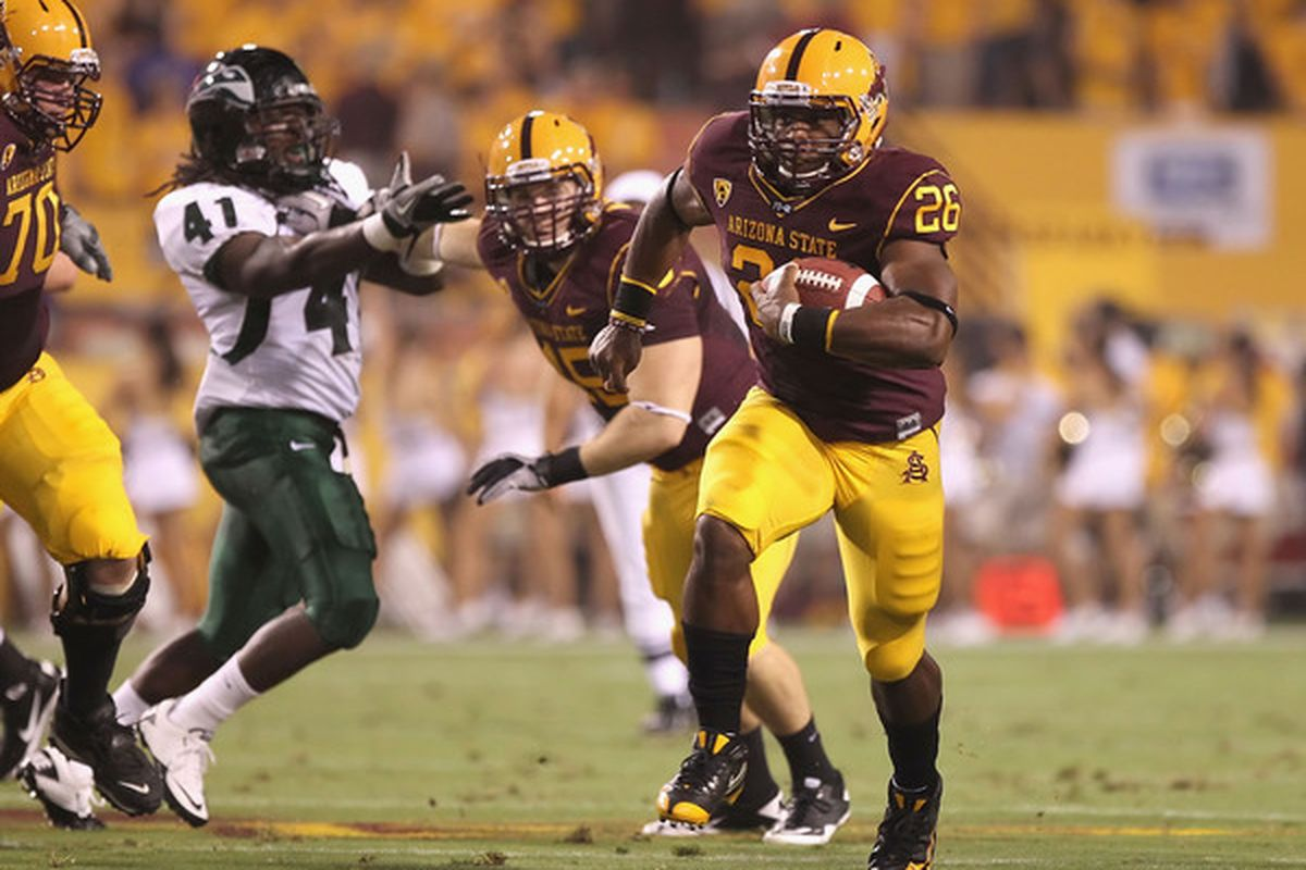 <em>Cameron Marshall #26 could become yet another RB posing issues for Chuck Bullough's caramel machiatto defense.</em>