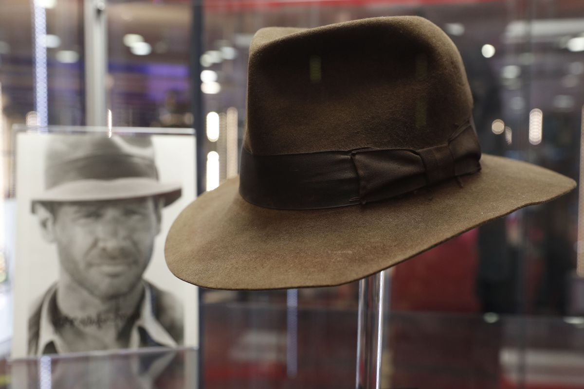 The fedora worn by Harrison Ford's character Indiana Jones in the 'Indiana Jones and the Raiders of the Lost Ark' film is on show at the Imax in central London on September 6, 2018 and will be auctioned on September 20.