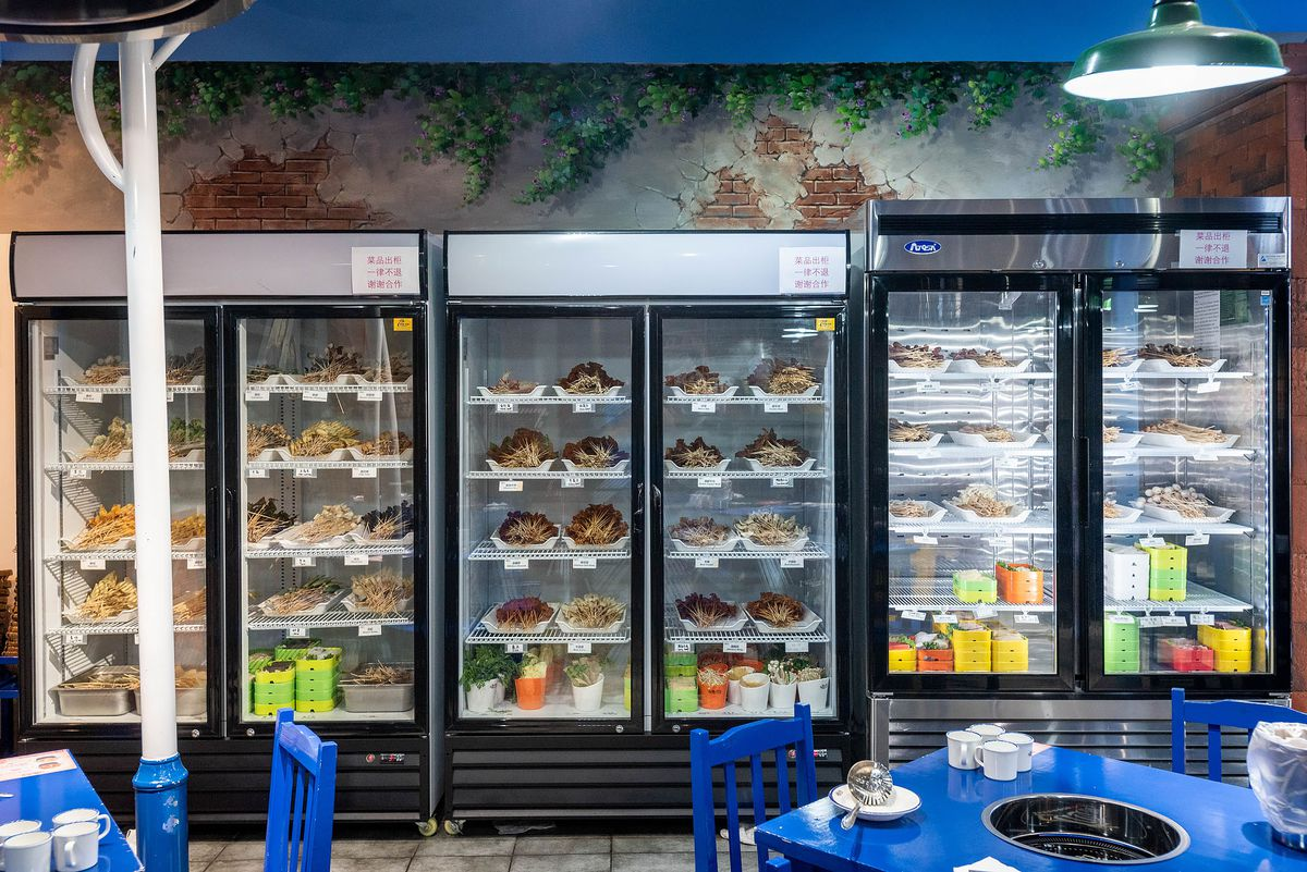 Refrigerators full of skewers and other ingredients at Malubianbian, Rowland Heights.
