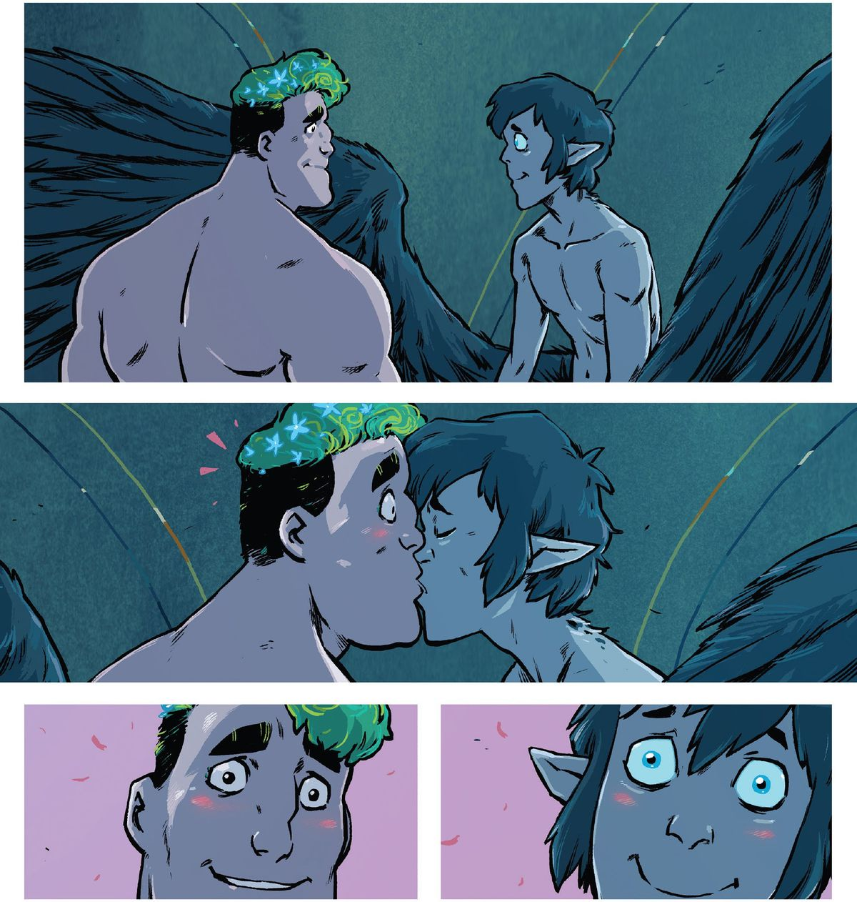 Two young male characters — one with plants for hair and the other with big, dark, feathered wings — share a longing look, a cute smooch, and then blushes all around in Wynd #10 (2021).