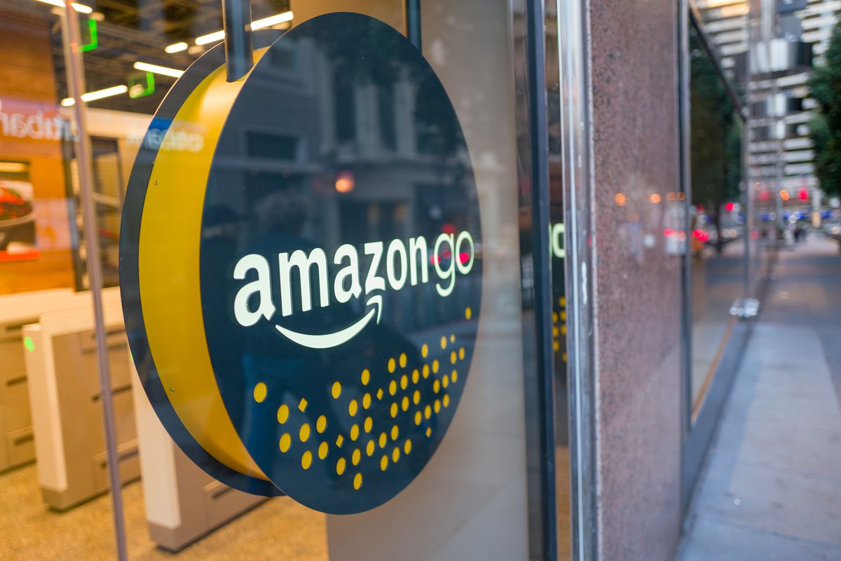 Facade with logo and sign at the Amazon Go concept store