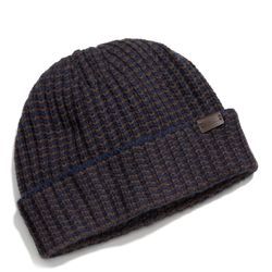 """<a href=""""http://f.curbed.cc/f/Coach_SP_121113_hat"""">Cashmere striped knit hat in navy</a>, $128"""