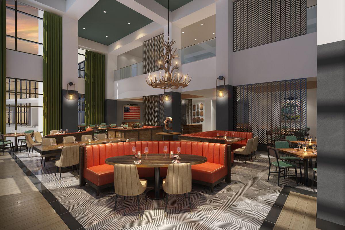 Dining room at Guy Fieri's Cherokee Kitchen + Bar