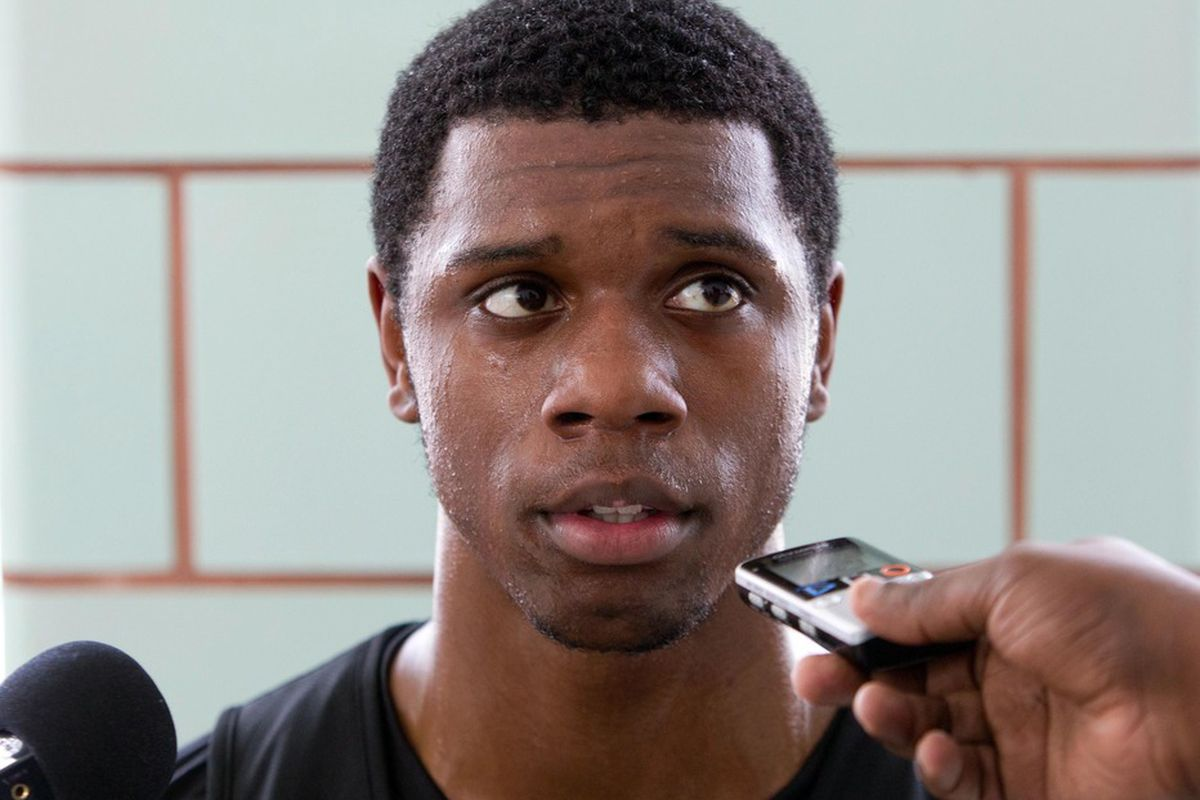 June 4, 2012; Westwego, LA, USA; Kentucky Wildcats forward Terrence Jones talks to the media following a pre-draft workout with the New Orleans Hornets at the Alario Center.  Mandatory Credit: Derick E. Hingle-US PRESSWIRE