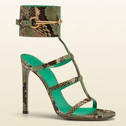 "<b>Gucci</b> Ursula Ankle-Strap High Heel Sandal in jasmine green python, <a href=""http://www.gucci.com/us/styles/319588E74003804#"">$1,350</a>"