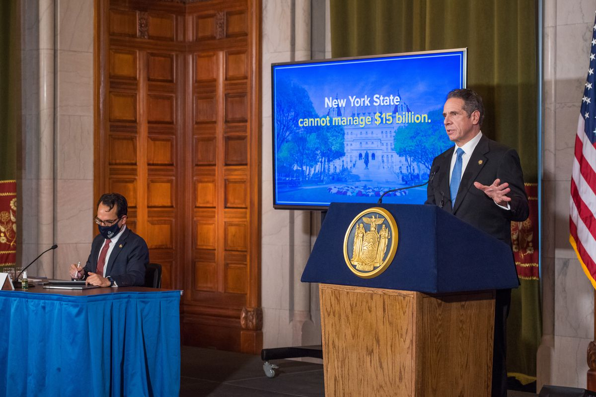 Governor Andrew Cuomo unveils his proposed budget in Albany, Jan. 19, 2021.