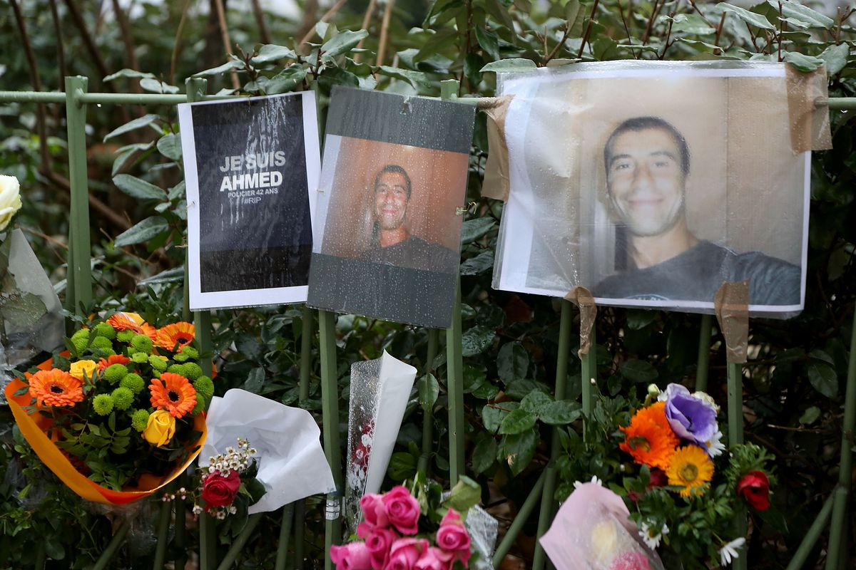 A memorial to Ahmed Merabet, one of two police officers killed in the Charlie Hebdo massacre